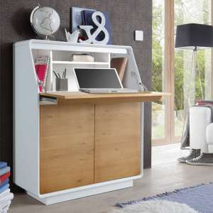 Amara Laptop Desk In Knotty Oak And Matt White With Storage