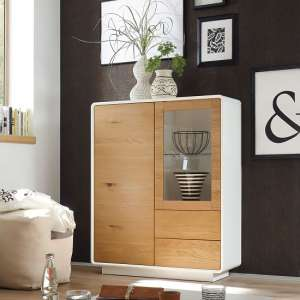 Amara Display Cabinet In Knotty Oak And Matt White With LED