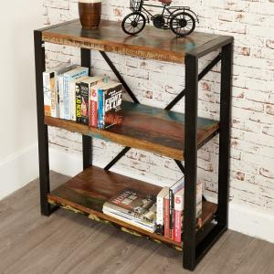 London Urban Chic Wooden Low Bookcase With 3 Shelf