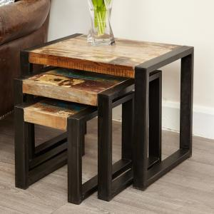 London Urban Chic Wooden 3 Nest of Tables With Steel Frame