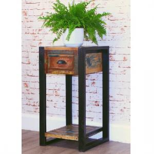 London Urban Chic Wooden Plant Stand Or Lamp Table With 1 Drawer