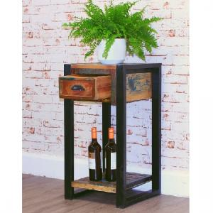 London Urban Chic Wooden Plant Stand Or Lamp Table With 1 Drawer_2