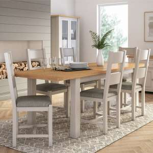 Amberly Extending Large Wooden Dining Set In Grey With 6 Chairs