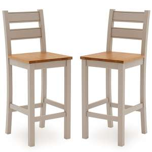 Amberly Grey Wooden Bar Stools With Solid Seat In Pair