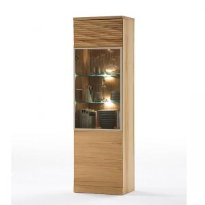 Amble Right Display Cabinet In Core Beech With 1 Door And LED