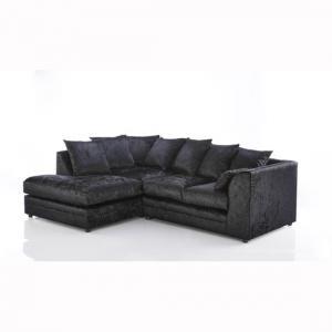 Ambrose Fabric Corner Sofa In Black Velvet With Round Feet