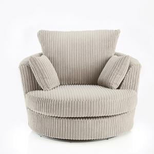 Ambrose Swivel Sofa Chair In Cream Fabric With Metal Feet_2
