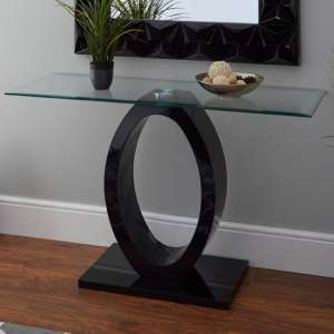 Amelia Glass Console Table With Black High Gloss Wooden Base