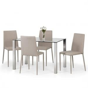 Amelia Glass Dining Table In Clear With 4 Fredo Sand Chairs