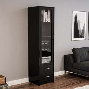 Amerax Glass Display Cabinet In Black High Gloss With 1 Door