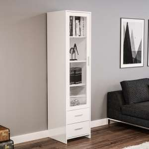 Amerax Glass Display Cabinet In White High Gloss With 1 Door