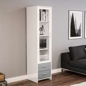 Amerax Glass Display Cabinet In White And Grey With 1 Door