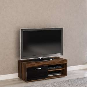 Amerax Small TV Stand In Walnut And Black Gloss With 1 Door