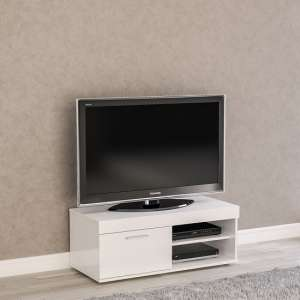Amerax Small TV Stand In White High Gloss With 1 Door