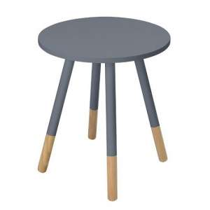 Amesbury Wooden Side Table Round In Grey