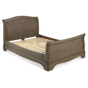 Ametis Wooden Sleigh King Size Bed In Grey Washed Oak