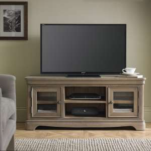 Ametis Wooden Plasma TV Stand In Grey Washed Oak With 2 Doors