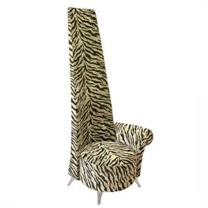 Amily Left Handed Potenza Chair In Gold Velvet Tiger Print