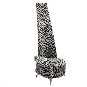 Amily Right Handed Potenza Chair In Silver Velvet Tiger Print