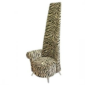 Amily Right Handed Potenza Chair In Gold Velvet Tiger Print