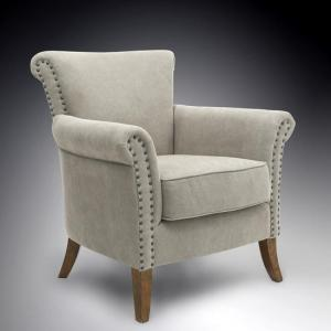 Amira Fabric Arm Chair In Natural With Wooden Legs