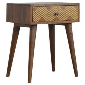 Amish Wooden Chevron Pattern Bedside Cabinet In Chestnut 1 Drawer