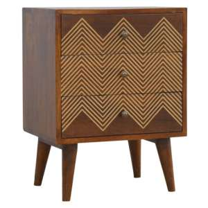 Amish Wooden Chevron Pattern Bedside Cabinet In Chestnut 3 Drawer