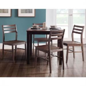 Ammy Wooden Dining Table In Dark Walnut With 4 Dining Chairs