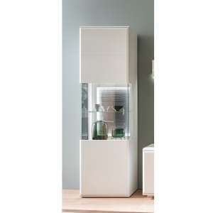 Amora LED Wooden Display Cabinet In Matt White With 1 Door