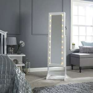 Amore LED Dressing Mirror In White With Jewellery Cabinet