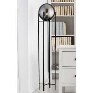 Amsterdam Floor Lamp In Black With 4 Leg Base And Smoked Glass