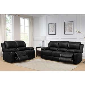 Andalusia Leather 2 Seater And 3 Seater Sofa Suite In Black