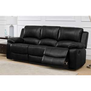 Andalusia Recliner LeatherGel And PU 3 Seater Sofa In Black