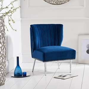 Andean Modern Accent Chair In Blue Velvet With Metal Legs
