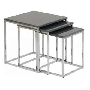 Andi Nest Of Tables In Grey Gloss With Chrome Legs