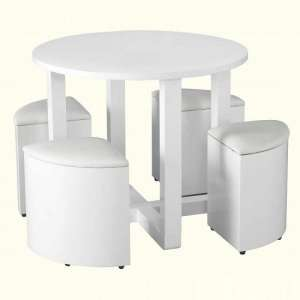Andi Stowaway Dining Table In White Gloss With White Stools