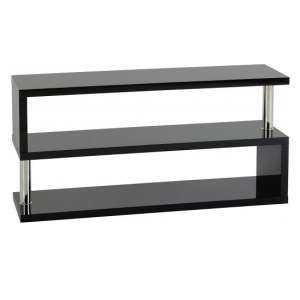 Andi TV Stand In Black Gloss With Chrome Poles
