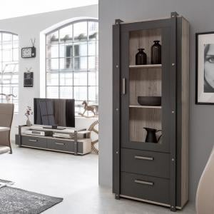 Andora Wooden Display Cabinet In Sorrento Oak And Anthracite