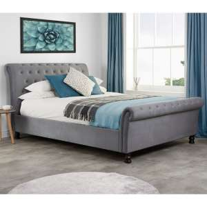 Andriana Fabric King Size Bed In Grey Velvet With Wooden Feet