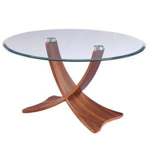 Anfossi Glass Coffee Table Round In Clear With Walnut Legs