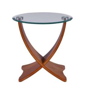 Anfossi Glass Lamp Table Round In Clear With Walnut Legs