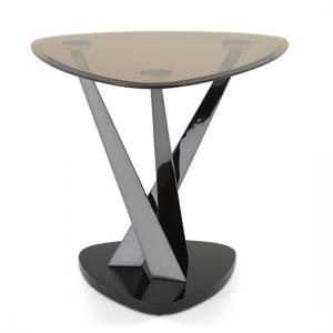 Angela Lamp Table In Smoke Glass And Black Nickel