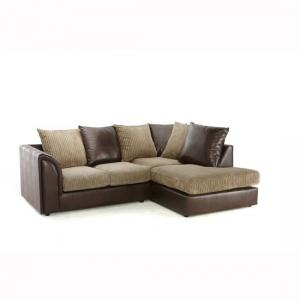 Angelic Corner Sofa In Brown Faux Leather And Mink Fabric