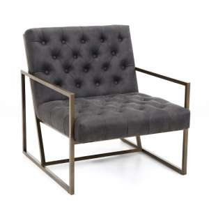 Angelo Suede Effect Arm Chair In Charcoal With Metal Frame