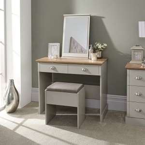Angus Dressing Table And Stool With Table Mirror In Soft Grey