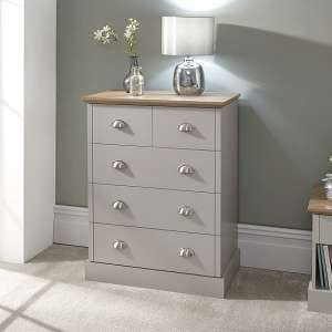 Ervin Large Chest Of Drawers In Soft Grey With Oak Effect Top