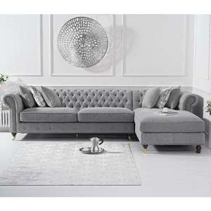 Aniara Linen Fabric Right Facing Chaise Sofa Bed In Grey