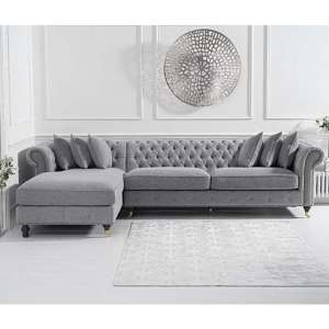 Aniara Linen Left Facing Chaise Sofa Bed In Grey