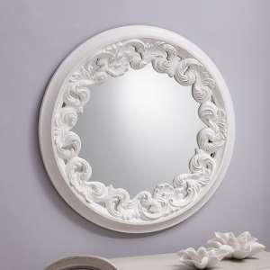 Anna Wall Mirror Round In White With Ornate Frame