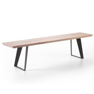 Annecy Wooden 180cm Rectangular Dining Bench With Metal Legs